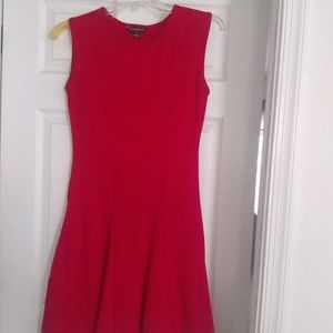 Red Form-Fitting Scoop Neck Sharagano Dress
